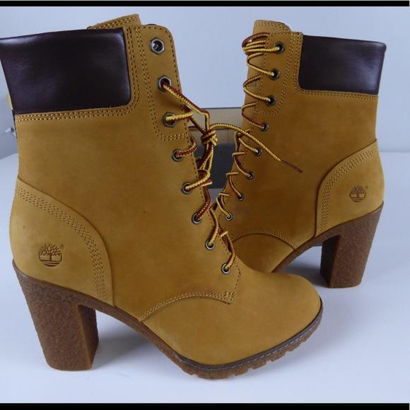 432e0490557b Timberland Glancy Wheat Nubuck Leather Boots NIB